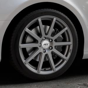 AEZ Straight Graphite matt Felge mit Reifen grau in 18Zoll Winterfelge Alufelge auf silbernem Audi A4 Typ 8K2/B8 (Limousine) ⬇️ mit 15mm Tieferlegung ⬇️ Industriehalle 1 Thumbnail
