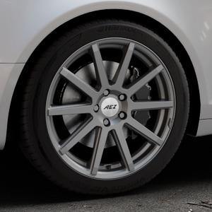 AEZ Straight Graphite matt Felge mit Reifen grau in 18Zoll Winterfelge Alufelge auf silbernem Audi A6 Typ 4F/C6 (Avant) ⬇️ mit 15mm Tieferlegung ⬇️ Industriehalle 1 Thumbnail