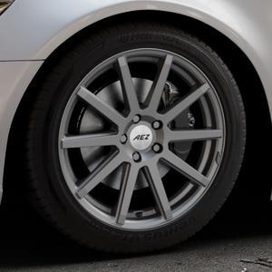 AEZ Straight Graphite matt Felge mit Reifen grau in 18Zoll Winterfelge Alufelge auf silbernem Audi A6 Typ 4G/C7 (Limousine) ⬇️ mit 15mm Tieferlegung ⬇️ Industriehalle 1 Thumbnail