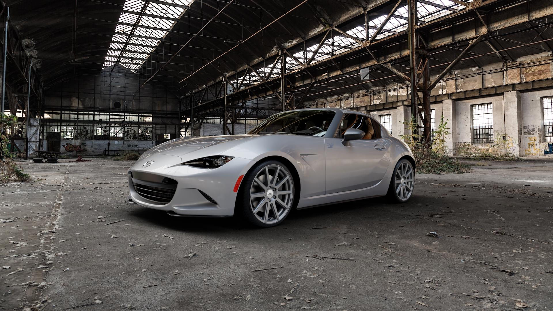 AEZ Straight Graphite matt Felge mit Reifen grau in 18Zoll Winterfelge Alufelge auf silbernem Mazda MX-5 IV RF (ND) ⬇️ mit 15mm Tieferlegung ⬇️ Industriehalle 1 Camera_000