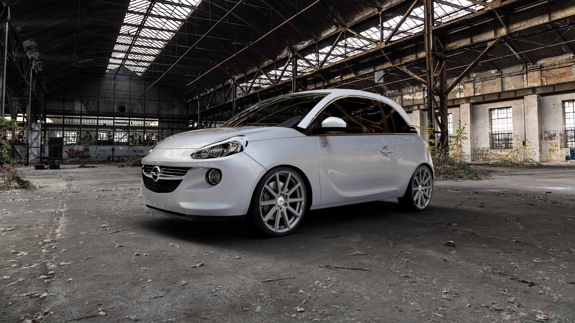 AEZ Straight Graphite matt Felge mit Reifen grau in 18Zoll Winterfelge Alufelge auf silbernem Opel Adam ⬇️ mit 15mm Tieferlegung ⬇️ Industriehalle 1 Camera_000