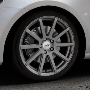 AEZ Straight Graphite matt Felge mit Reifen grau in 18Zoll Winterfelge Alufelge auf silbernem Volkswagen (VW) Golf 7 ⬇️ mit 15mm Tieferlegung ⬇️ Industriehalle 1 Thumbnail