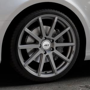 AEZ Straight Graphite matt Felge mit Reifen grau in 19Zoll Winterfelge Alufelge auf silbernem Audi A4 Typ 8K2/B8 (Limousine) ⬇️ mit 15mm Tieferlegung ⬇️ Industriehalle 1 Thumbnail