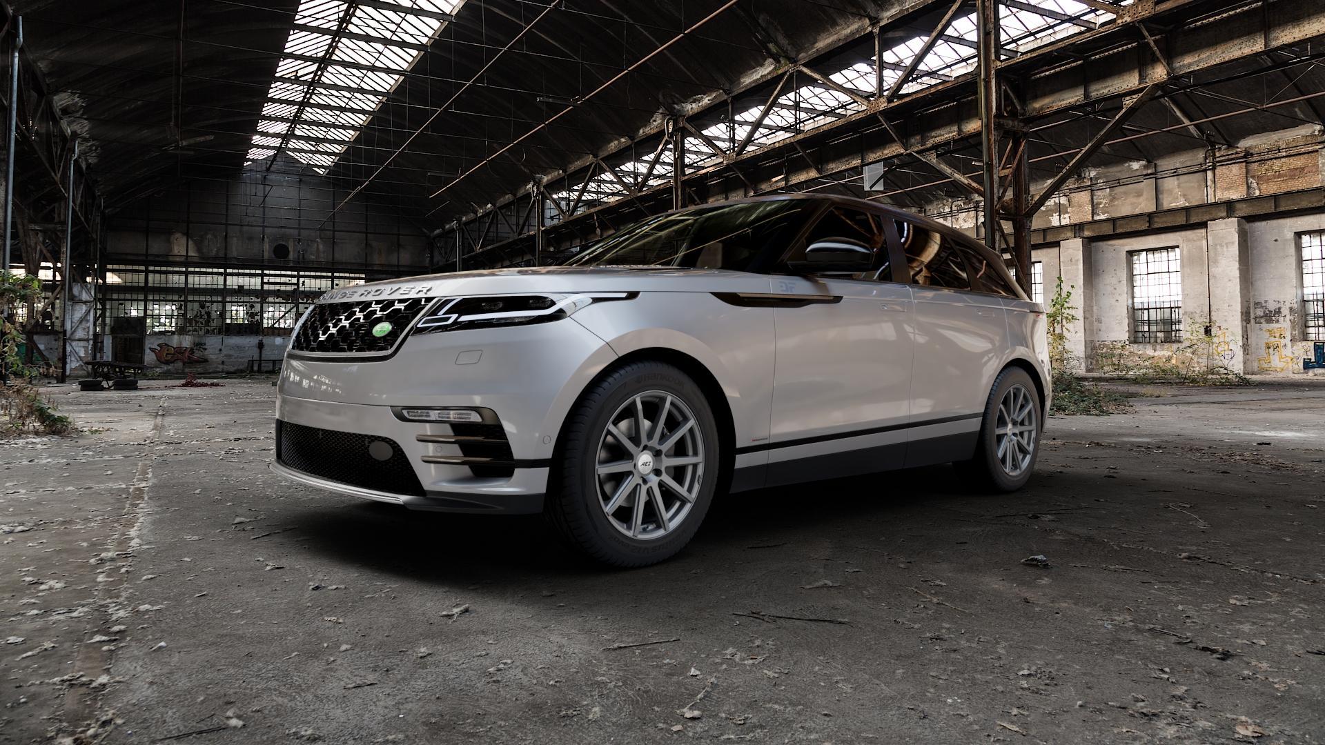 AEZ Straight Graphite matt Felge mit Reifen grau in 19Zoll Winterfelge Alufelge auf silbernem Land Rover Range Velar Typ LY ⬇️ mit 15mm Tieferlegung ⬇️ Industriehalle 1 Camera_000