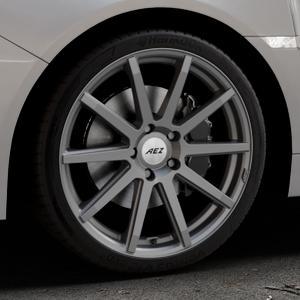 AEZ Straight Graphite matt Felge mit Reifen grau in 19Zoll Winterfelge Alufelge auf silbernem Subaru WRX Typ V1 Model 2018 ⬇️ mit 15mm Tieferlegung ⬇️ Industriehalle 1 Thumbnail