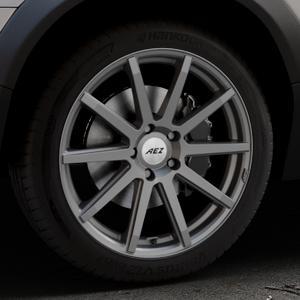 AEZ Straight Graphite matt Felge mit Reifen grau in 19Zoll Winterfelge Alufelge auf silbernem Volvo XC70 II Typ B ⬇️ mit 15mm Tieferlegung ⬇️ Industriehalle 1 Thumbnail