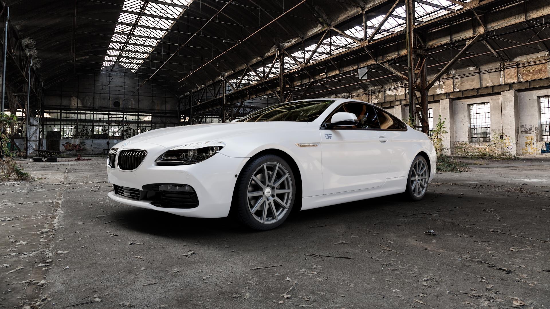AEZ Straight Graphite matt Felge mit Reifen grau in 19Zoll Winterfelge Alufelge auf weissem BMW 640i Typ F13 (Coupe) 650i 640d xDrive ⬇️ mit 15mm Tieferlegung ⬇️ Industriehalle 1 Camera_000