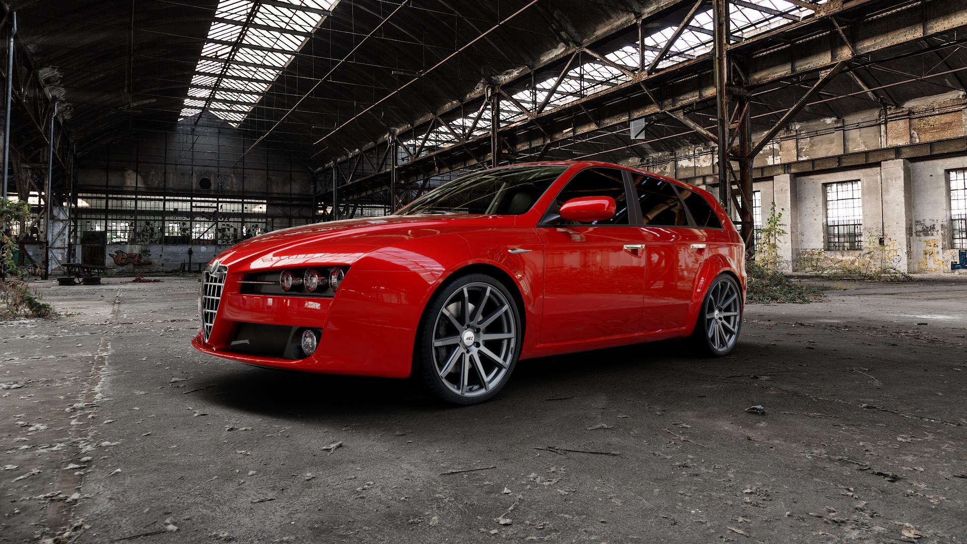 AEZ Straight Graphite matt Felge mit Reifen grau in 20Zoll Winterfelge Alufelge auf rotem Alfa Romeo 159 Sportwagon ⬇️ mit 15mm Tieferlegung ⬇️ Industriehalle 1 Camera_000
