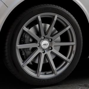 AEZ Straight Graphite matt Felge mit Reifen grau in 20Zoll Winterfelge Alufelge auf silbernem Alfa Romeo Stelvio Typ 949 ⬇️ mit 15mm Tieferlegung ⬇️ Industriehalle 1 Thumbnail
