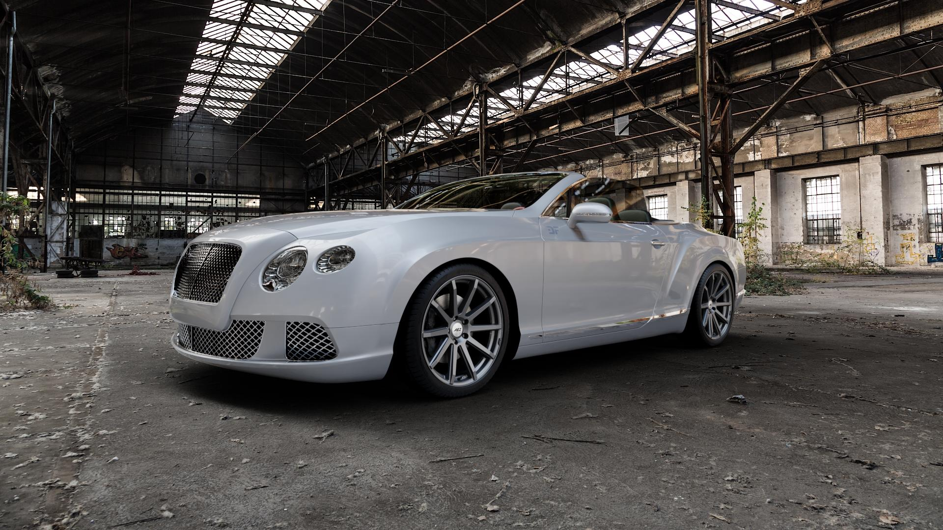 AEZ Straight Graphite matt Felge mit Reifen grau in 20Zoll Winterfelge Alufelge auf silbernem Bentley Continental Flying Spur GT GTC ⬇️ mit 15mm Tieferlegung ⬇️ Industriehalle 1 Camera_000