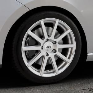 AEZ Straight Silver Felge mit Reifen silber in 17Zoll Winterfelge Alufelge auf silbernem Seat Leon Typ 5F ⬇️ mit 15mm Tieferlegung ⬇️ Industriehalle 1 Thumbnail