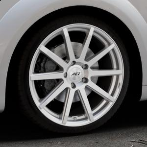 AEZ Straight Silver Felge mit Reifen silber in 19Zoll Winterfelge Alufelge auf silbernem Audi TT III Typ 8S (Coupé) (Roadster) ⬇️ mit 15mm Tieferlegung ⬇️ Industriehalle 1 Thumbnail