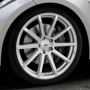 AEZ Straight Silver Felge mit Reifen silber in 20Zoll Winterfelge Alufelge auf silbernem Tesla Model S Typ 002 ⬇️ mit 15mm Tieferlegung ⬇️ Industriehalle 1 Thumbnail