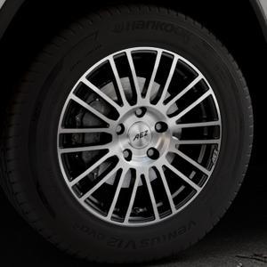 AEZ Strike Black/polished front Felge mit Reifen silber schwarz mehrfarbig in 18Zoll Alufelge auf silbernem Jeep Grand Cherokee IV Typ WK ⬇️ mit 15mm Tieferlegung ⬇️ Industriehalle 1 Thumbnail