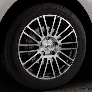 AEZ Strike Black/polished front Felge mit Reifen silber schwarz mehrfarbig in 19Zoll Alufelge auf silbernem Jaguar F-Pace Typ DC ⬇️ mit 15mm Tieferlegung ⬇️ Industriehalle 1 Thumbnail