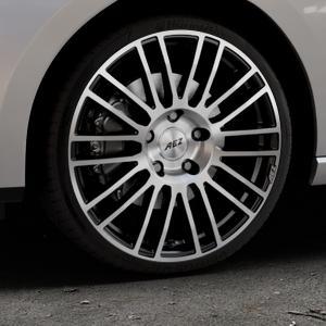 AEZ Strike Black/polished front Felge mit Reifen silber schwarz mehrfarbig in 19Zoll Alufelge auf silbernem Seat Leon Typ 5F ST Facelift ⬇️ mit 15mm Tieferlegung ⬇️ Industriehalle 1 Thumbnail