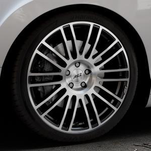 AEZ Strike Black/polished front Felge mit Reifen silber schwarz mehrfarbig in 20Zoll Alufelge auf silbernem Bentley Continental Flying Spur GT GTC ⬇️ mit 15mm Tieferlegung ⬇️ Industriehalle 1 Thumbnail