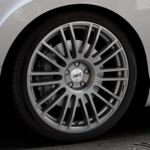 AEZ Strike Graphite matt Felge mit Reifen grau in 20Zoll Winterfelge Alufelge auf silbernem Bentley Continental Flying Spur GT GTC ⬇️ mit 15mm Tieferlegung ⬇️ Industriehalle 1 Thumbnail