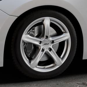 AEZ Yacht Black Felge mit Reifen schwarz in 17Zoll Winterfelge Alufelge auf silbernem Mazda 3 (13-) Stufenheck (BM) Sport (17-) Facelift Fließheck ⬇️ mit 15mm Tieferlegung ⬇️ Industriehalle 1 Thumbnail