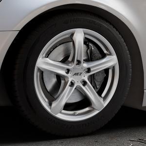 AEZ Yacht High gloss Felge mit Reifen silber in 17Zoll Winterfelge Alufelge auf silbernem Audi A6 Typ 4G/C7 (Avant) ⬇️ mit 15mm Tieferlegung ⬇️ Industriehalle 1 Thumbnail