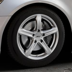 AEZ Yacht High gloss Felge mit Reifen silber in 17Zoll Winterfelge Alufelge auf silbernem Audi A6 Typ 4G/C7 (Limousine) ⬇️ mit 15mm Tieferlegung ⬇️ Industriehalle 1 Thumbnail