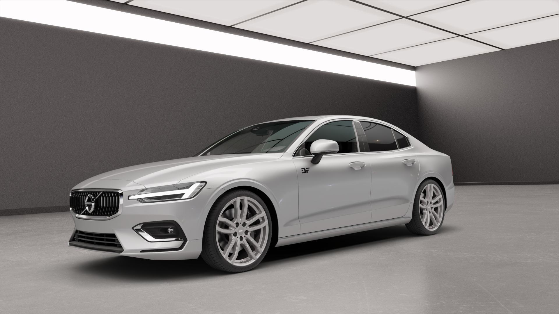 ALUTEC DriveX metal-grey Felge mit Reifen grau in 20Zoll Winterfelge Alufelge auf silbernem Volvo S60 III Typ Z ⬇️ mit 15mm Tieferlegung ⬇️ Neutral_mid_max5300mm Frontansicht_1