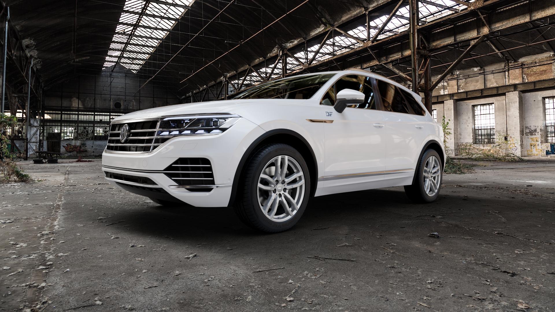 ALUTEC DriveX metal-grey Felge mit Reifen grau in 20Zoll Winterfelge Alufelge auf weissem Volkswagen (VW) Touareg III Typ CR ⬇️ mit 15mm Tieferlegung ⬇️ Industriehalle 1 Camera_000