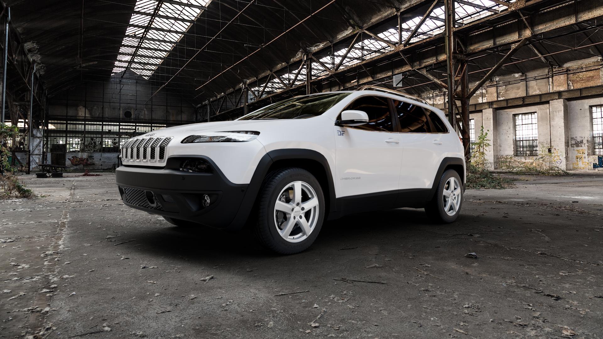 ALUTEC Freeze polar-silber Felge mit Reifen in 17Zoll Winterfelge Alufelge auf weissem Jeep Cherokee Typ KL Trailhawk ⬇️ mit 15mm Tieferlegung ⬇️ Industriehalle 1 Camera_000