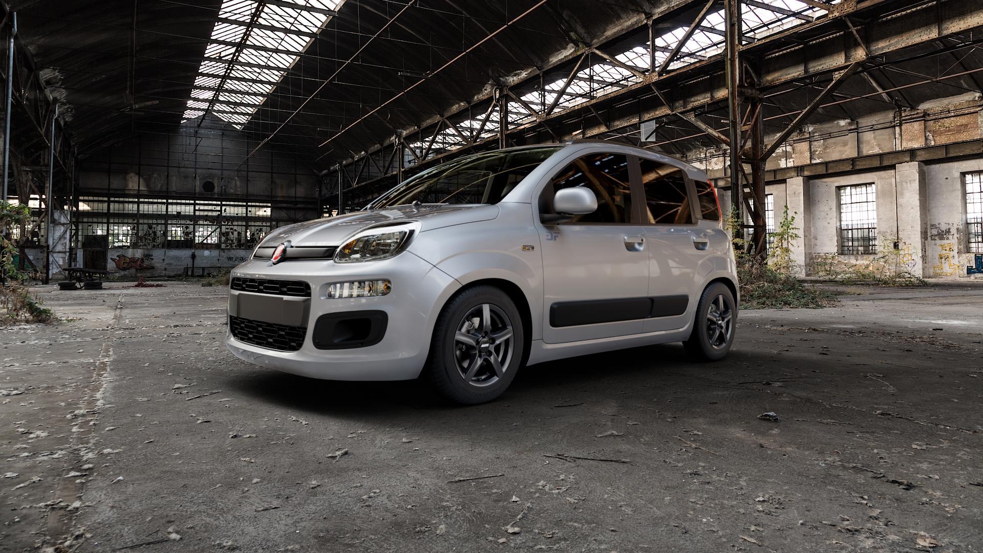 ALUTEC Grip graphit Felge mit Reifen grau in 14Zoll Winterfelge Alufelge auf silbernem Fiat Panda Typ 312 4x4 ⬇️ mit 15mm Tieferlegung ⬇️ Industriehalle 1 Camera_000