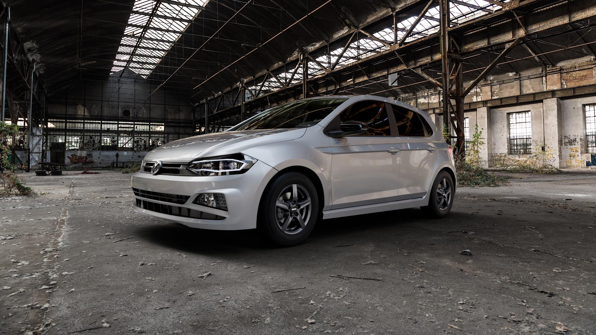ALUTEC Grip graphit Felge mit Reifen grau in 14Zoll Winterfelge Alufelge auf silbernem Volkswagen (VW) Polo VI Typ AW ⬇️ mit 15mm Tieferlegung ⬇️ Industriehalle 1 Camera_000