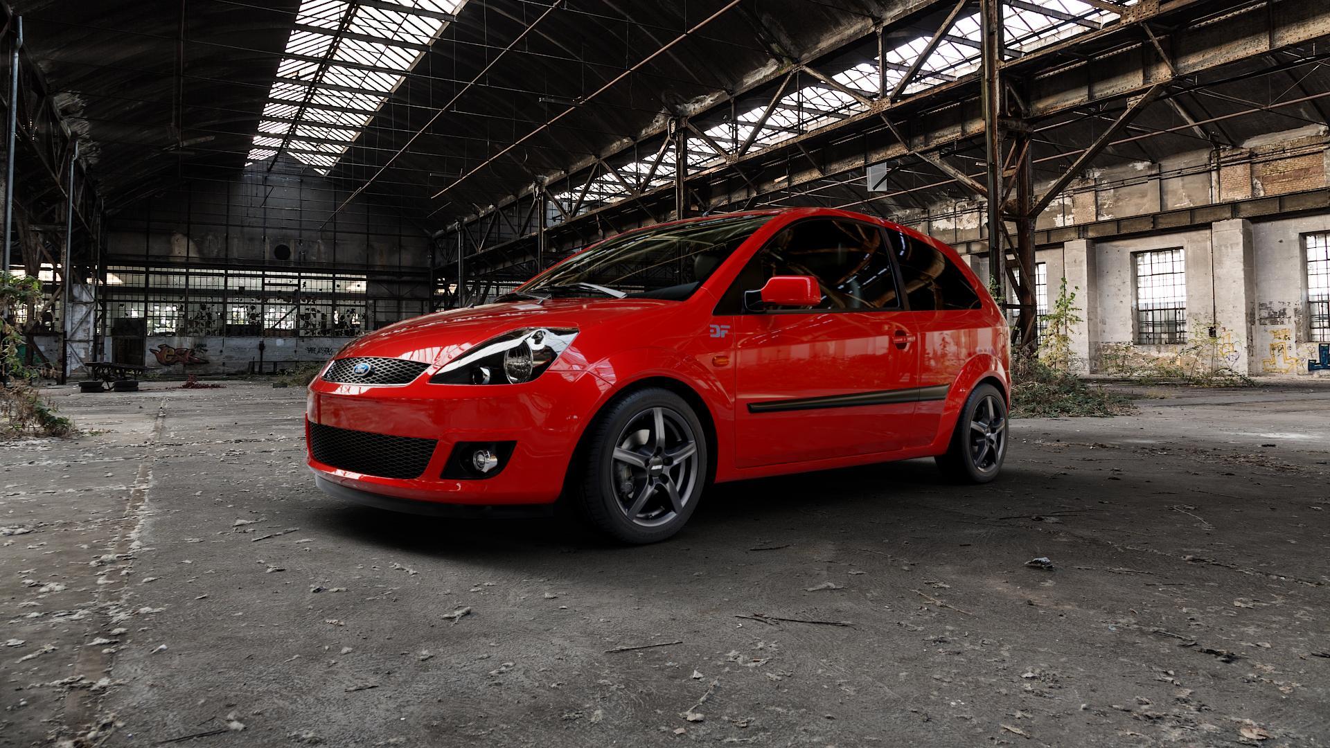 ALUTEC Grip graphit Felge mit Reifen grau in 15Zoll Winterfelge Alufelge auf rotem Ford Fiesta V Typ JH1/JD3 ⬇️ mit 15mm Tieferlegung ⬇️ Industriehalle 1 Camera_000