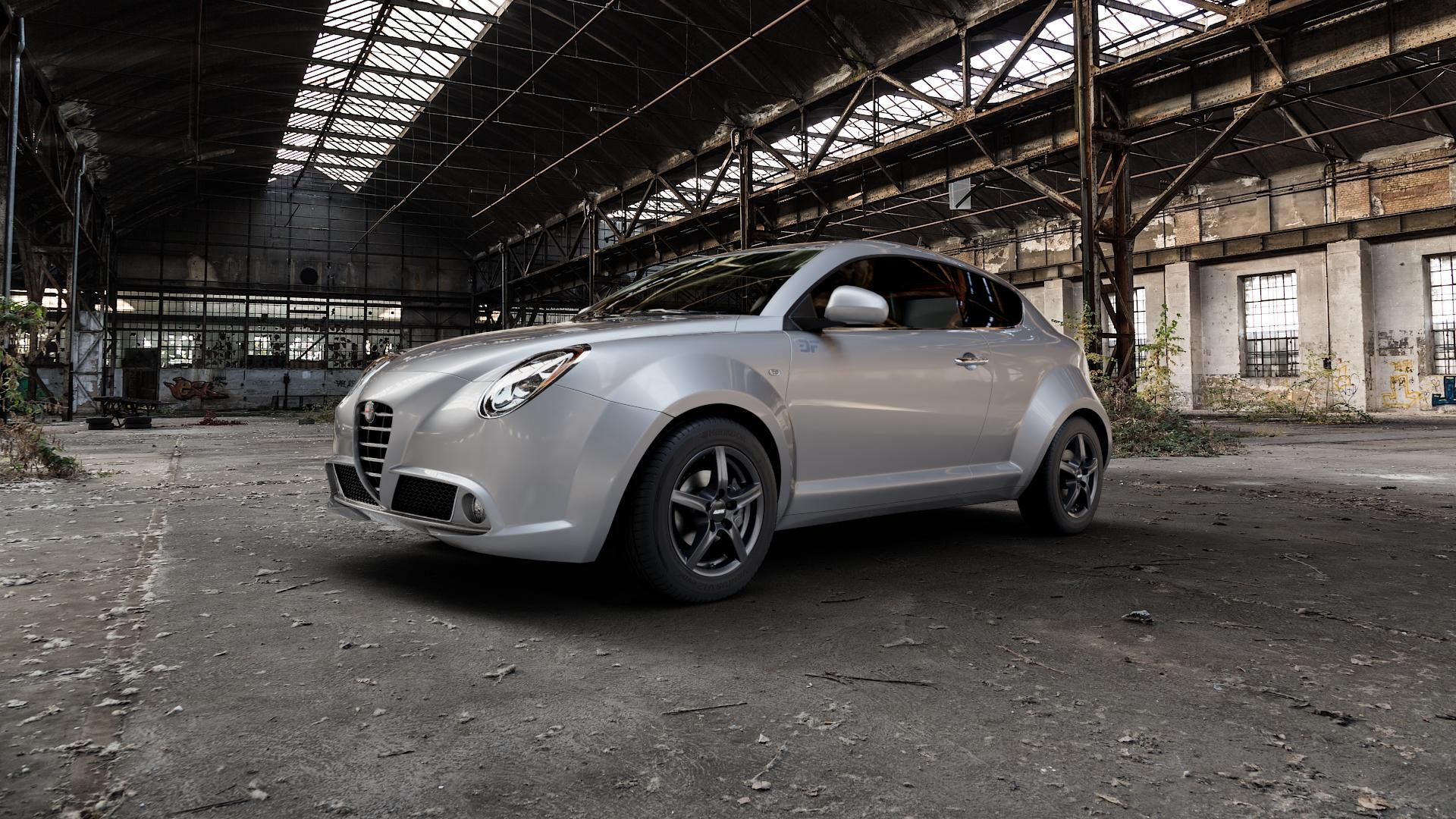 ALUTEC Grip graphit Felge mit Reifen grau in 15Zoll Winterfelge Alufelge auf silbernem Alfa Romeo Mito Typ 955 ⬇️ mit 15mm Tieferlegung ⬇️ Industriehalle 1 Camera_000