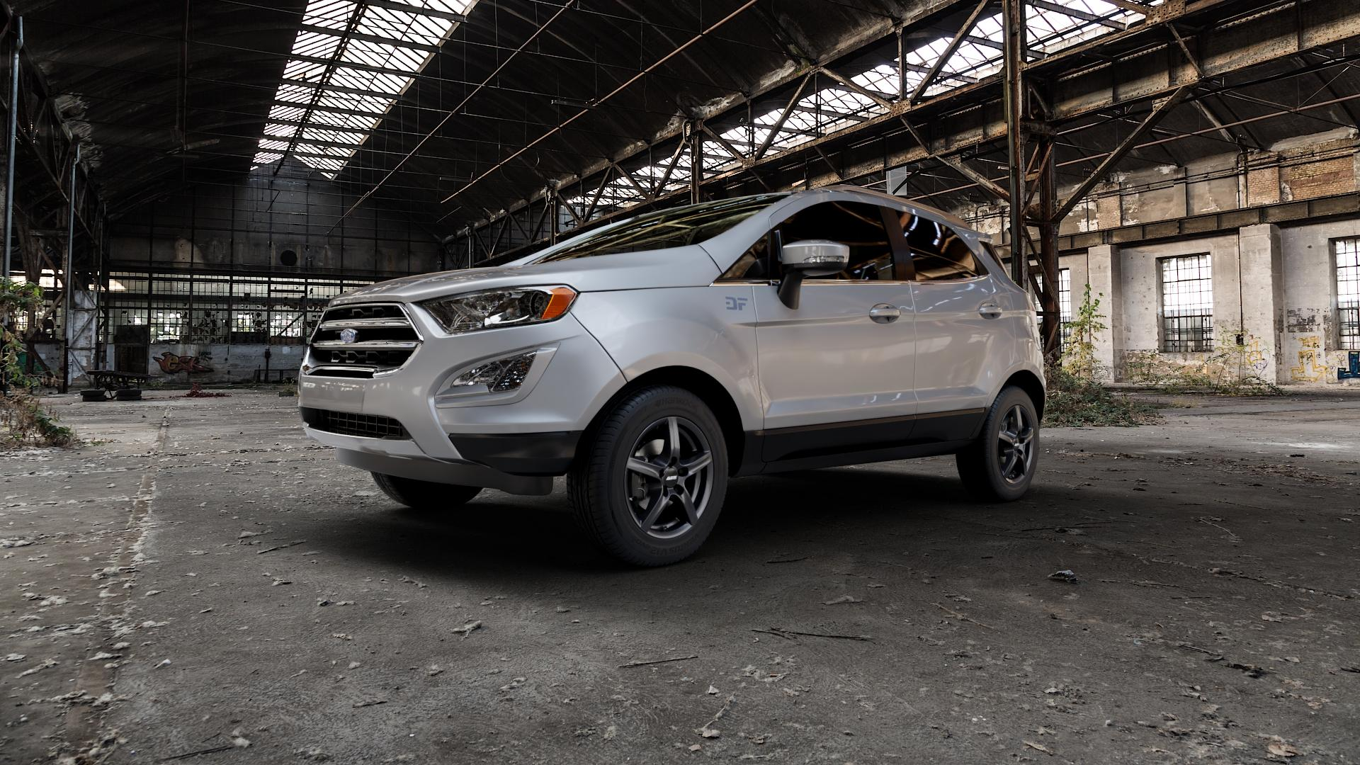 ALUTEC Grip graphit Felge mit Reifen grau in 15Zoll Winterfelge Alufelge auf silbernem Ford EcoSport Typ JK8 Facelift ⬇️ mit 15mm Tieferlegung ⬇️ Industriehalle 1 Camera_000