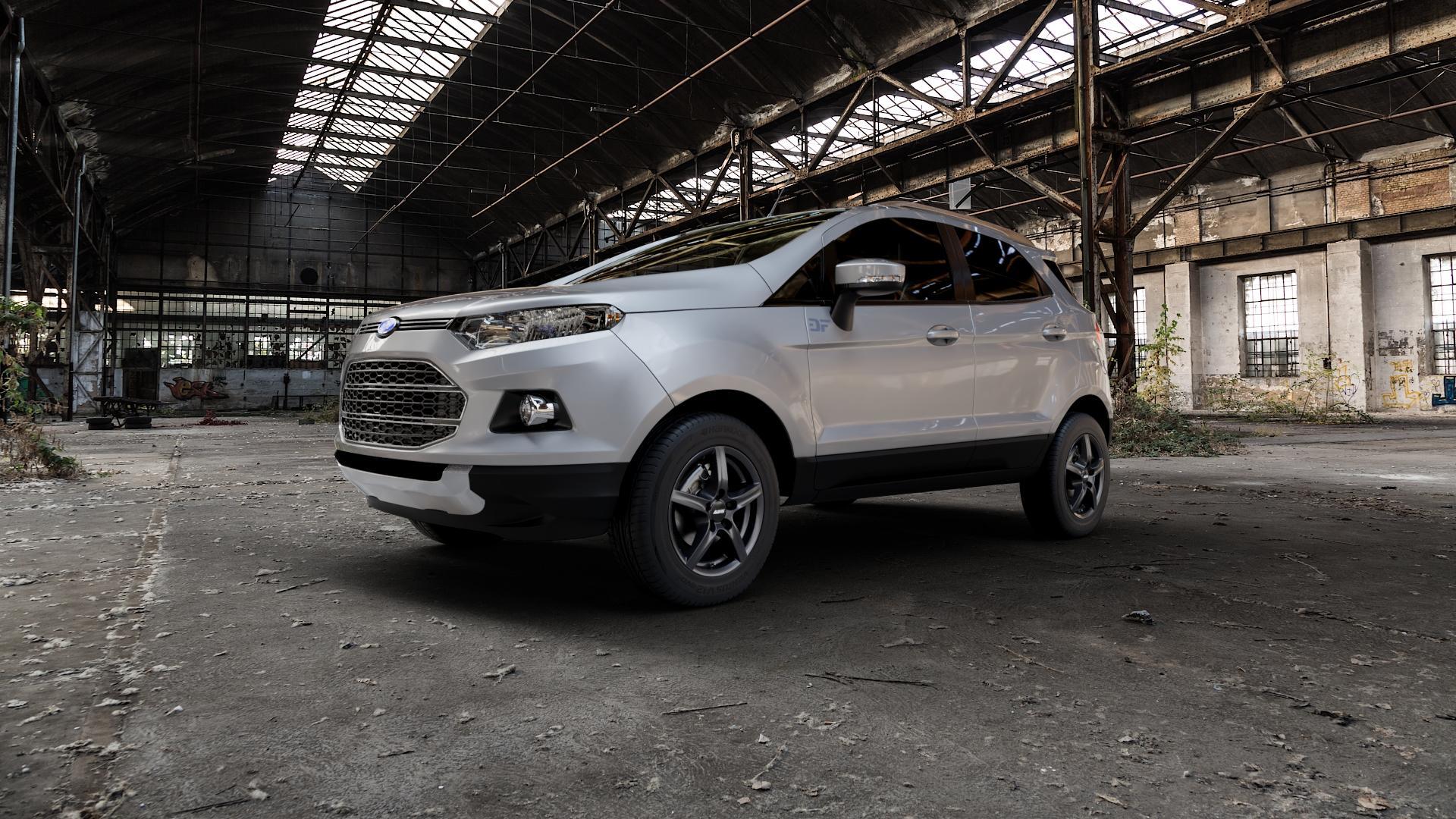 ALUTEC Grip graphit Felge mit Reifen grau in 15Zoll Winterfelge Alufelge auf silbernem Ford EcoSport Typ JK8 ⬇️ mit 15mm Tieferlegung ⬇️ Industriehalle 1 Camera_000