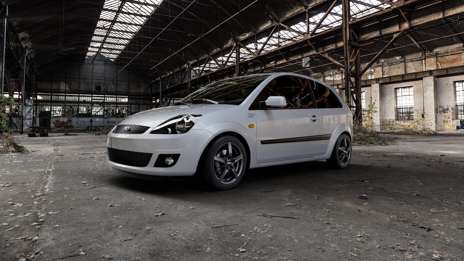 ALUTEC Grip graphit Felge mit Reifen grau in 15Zoll Winterfelge Alufelge auf silbernem Ford Fiesta V Typ JH1/JD3 ⬇️ mit 15mm Tieferlegung ⬇️ Industriehalle 1 Camera_000