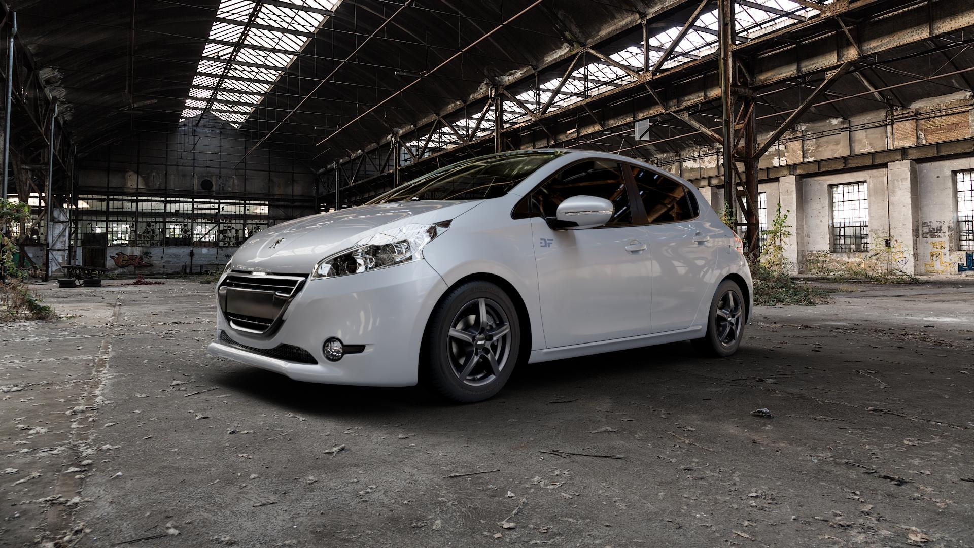 ALUTEC Grip graphit Felge mit Reifen grau in 15Zoll Winterfelge Alufelge auf silbernem Peugeot 208 Typ C ⬇️ mit 15mm Tieferlegung ⬇️ Industriehalle 1 Camera_000