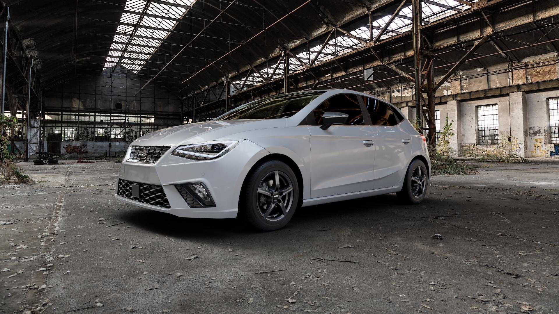 ALUTEC Grip graphit Felge mit Reifen grau in 15Zoll Winterfelge Alufelge auf silbernem Seat Ibiza V Typ KJ ⬇️ mit 15mm Tieferlegung ⬇️ Industriehalle 1 Camera_000