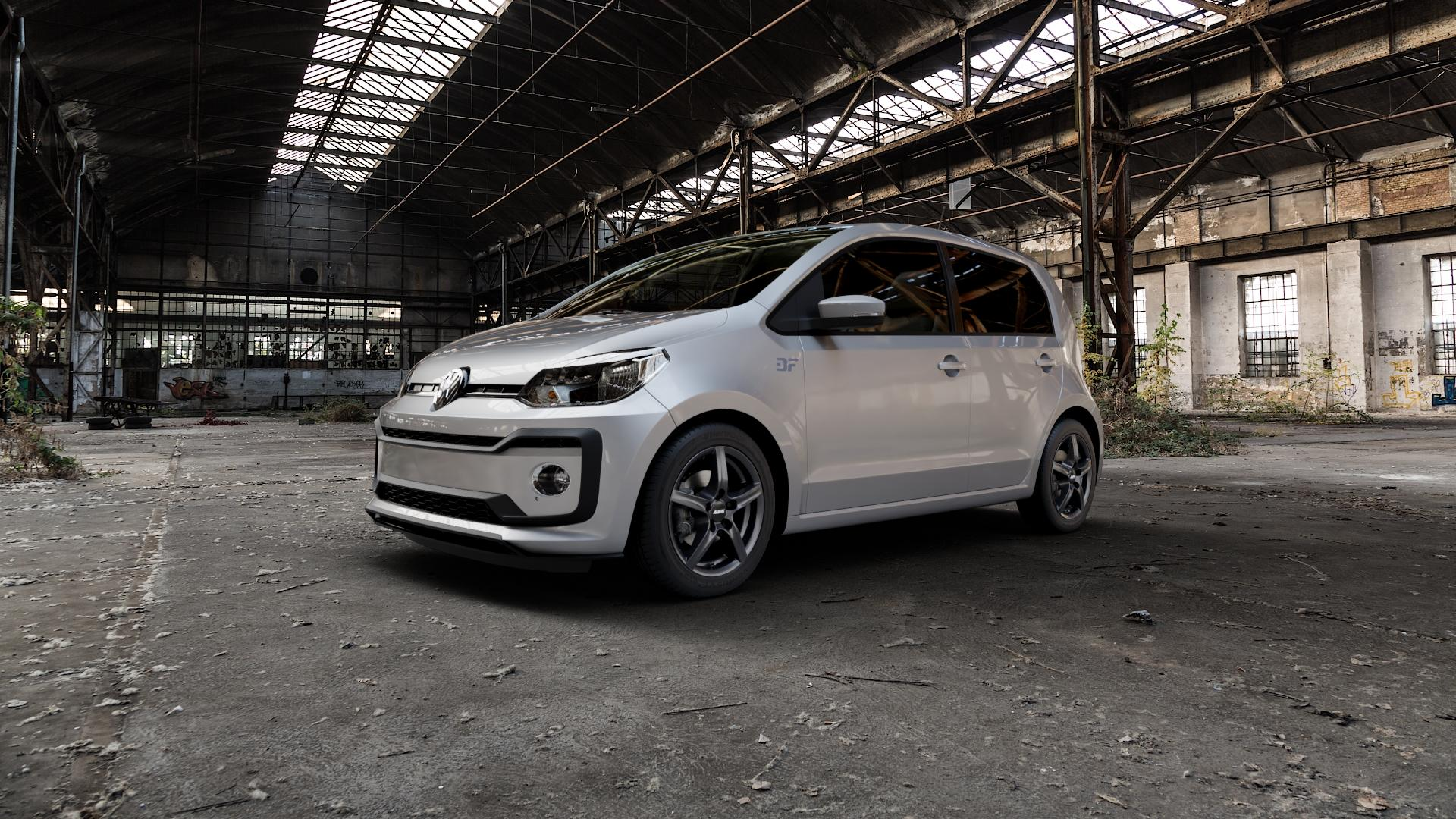 ALUTEC Grip graphit Felge mit Reifen grau in 15Zoll Winterfelge Alufelge auf silbernem Volkswagen (VW) UP Facelift 1,0l 44kW (60 PS) 55kW (75 eco-Up 50kW (68 TSI 66kW (90 85kW GTi (116 ⬇️ mit 15mm Tieferlegung ⬇️ Industriehalle 1 Camera_000