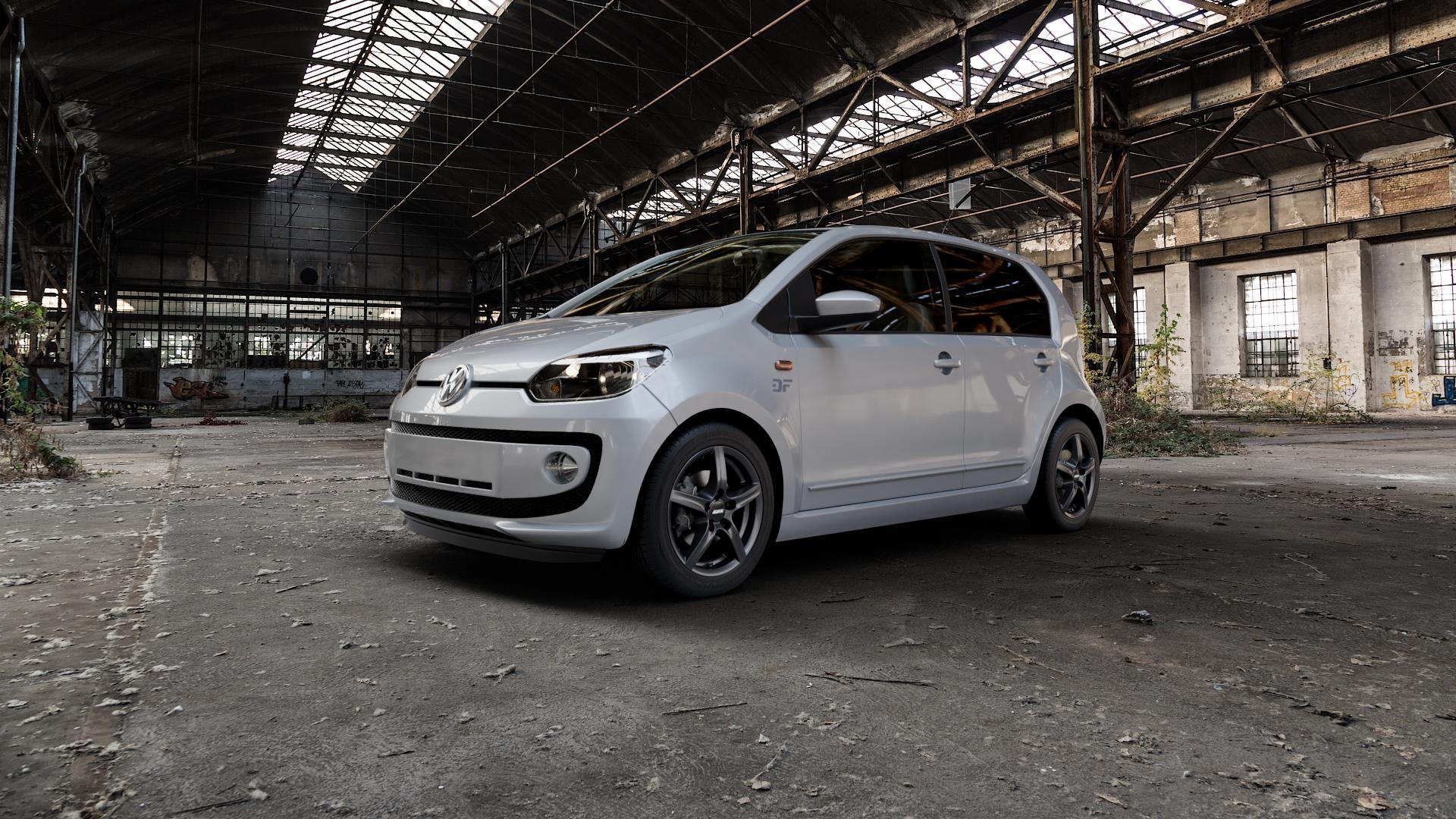 ALUTEC Grip graphit Felge mit Reifen grau in 15Zoll Winterfelge Alufelge auf silbernem Volkswagen (VW) UP ⬇️ mit 15mm Tieferlegung ⬇️ Industriehalle 1 Camera_000