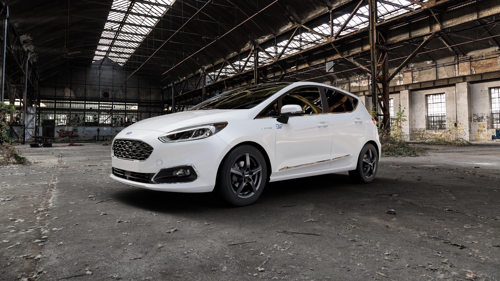 ALUTEC Grip graphit Felge mit Reifen grau in 15Zoll Winterfelge Alufelge auf weissem Ford Fiesta VII Typ JHH ⬇️ mit 15mm Tieferlegung ⬇️ Industriehalle 1 Camera_000