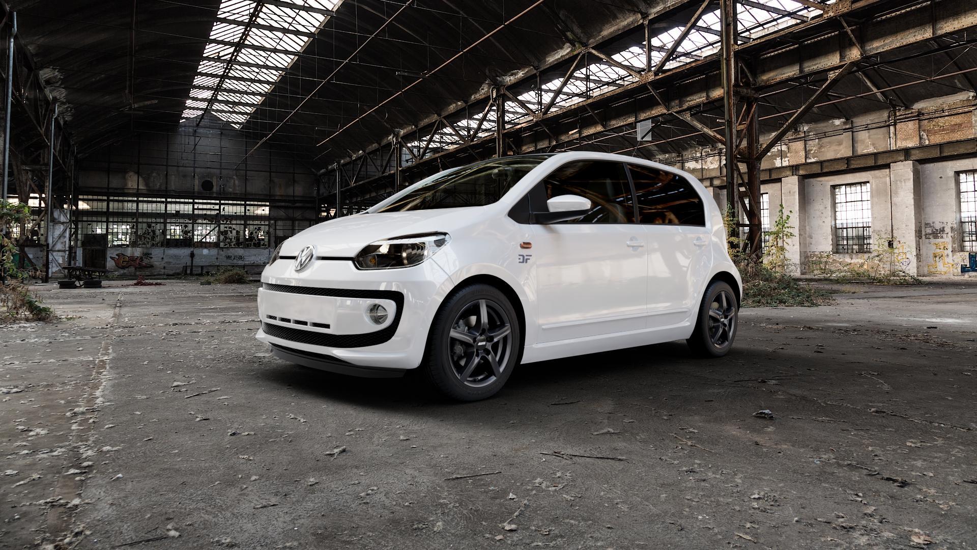 ALUTEC Grip graphit Felge mit Reifen grau in 15Zoll Winterfelge Alufelge auf weissem Volkswagen (VW) UP ⬇️ mit 15mm Tieferlegung ⬇️ Industriehalle 1 Camera_000