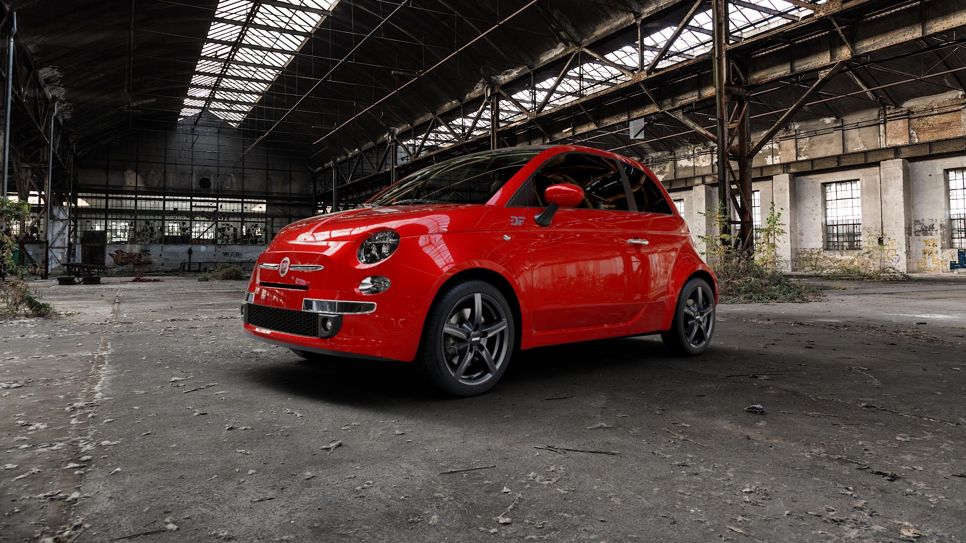 ALUTEC Grip graphit Felge mit Reifen grau in 16Zoll Winterfelge Alufelge auf rotem Fiat 500 Typ 312 Cabrio Facelift ⬇️ mit 15mm Tieferlegung ⬇️ Industriehalle 1 Camera_000
