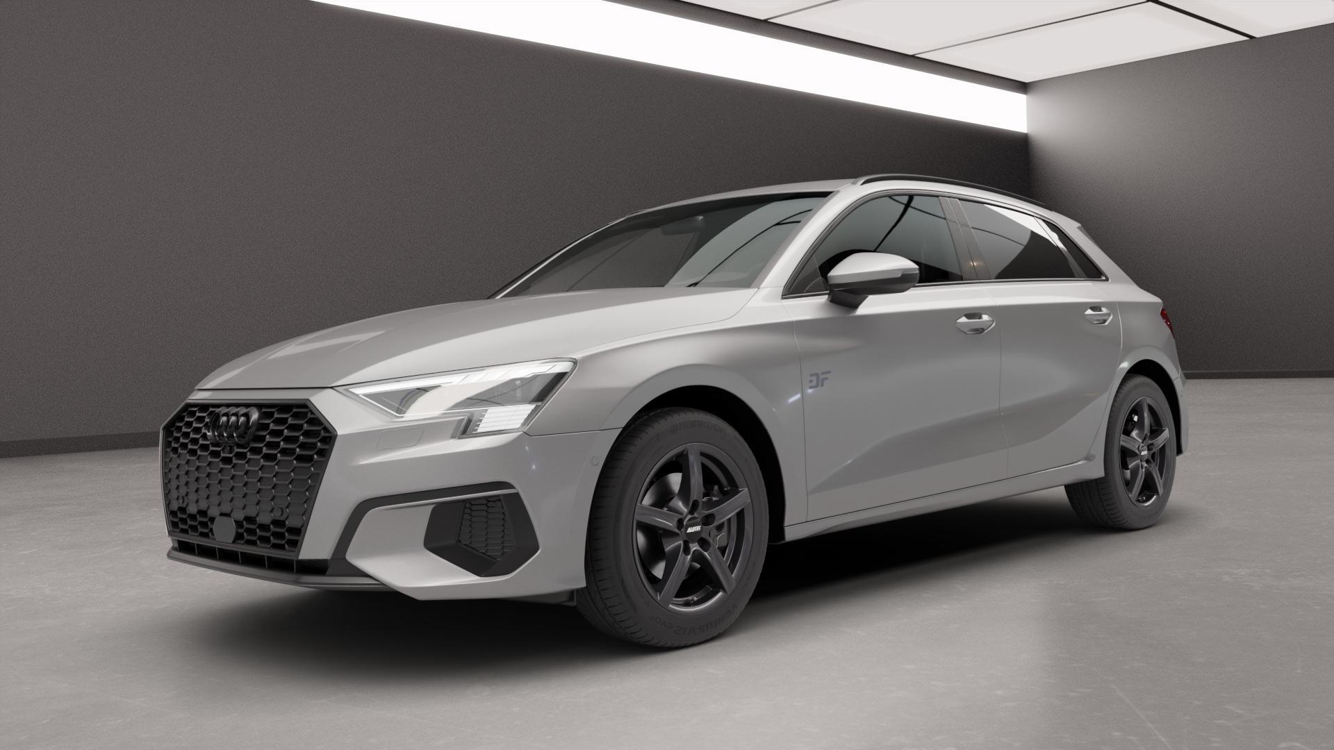 ALUTEC Grip graphit Felge mit Reifen grau in 16Zoll Winterfelge Alufelge auf silbernem Audi A3 Typ GY (Sportback) ⬇️ mit 15mm Tieferlegung ⬇️ Neutral_near_max4650mm Frontansicht_1