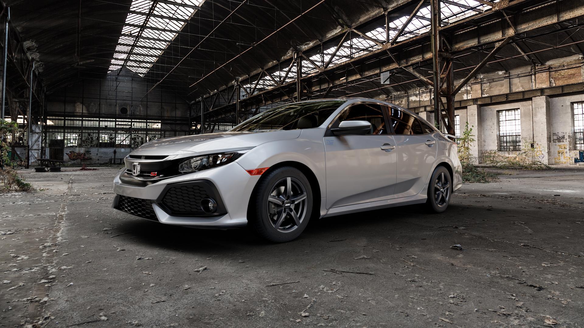 ALUTEC Grip graphit Felge mit Reifen grau in 16Zoll Winterfelge Alufelge auf silbernem Honda Civic 10 Schrägheck (FC) ⬇️ mit 15mm Tieferlegung ⬇️ Industriehalle 1 Camera_000