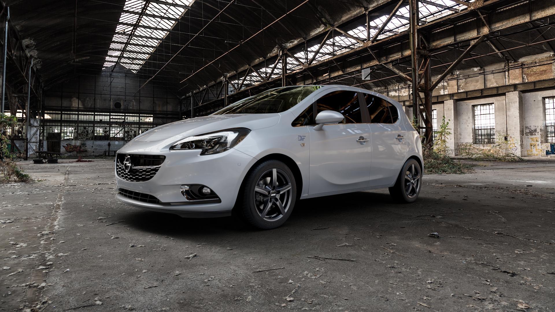 ALUTEC Grip graphit Felge mit Reifen grau in 16Zoll Winterfelge Alufelge auf silbernem Opel Corsa E Typ S-D ⬇️ mit 15mm Tieferlegung ⬇️ Industriehalle 1 Camera_000