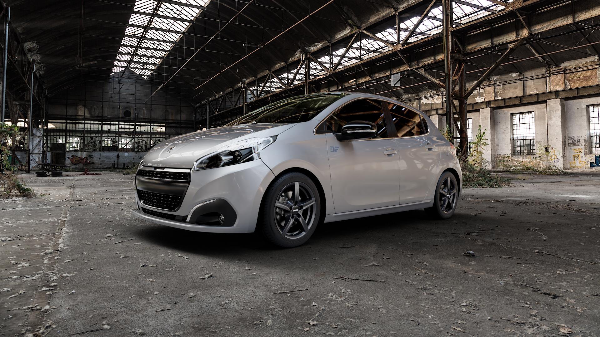 ALUTEC Grip graphit Felge mit Reifen grau in 16Zoll Winterfelge Alufelge auf silbernem Peugeot 208 Typ C Facelift ⬇️ mit 15mm Tieferlegung ⬇️ Industriehalle 1 Camera_000