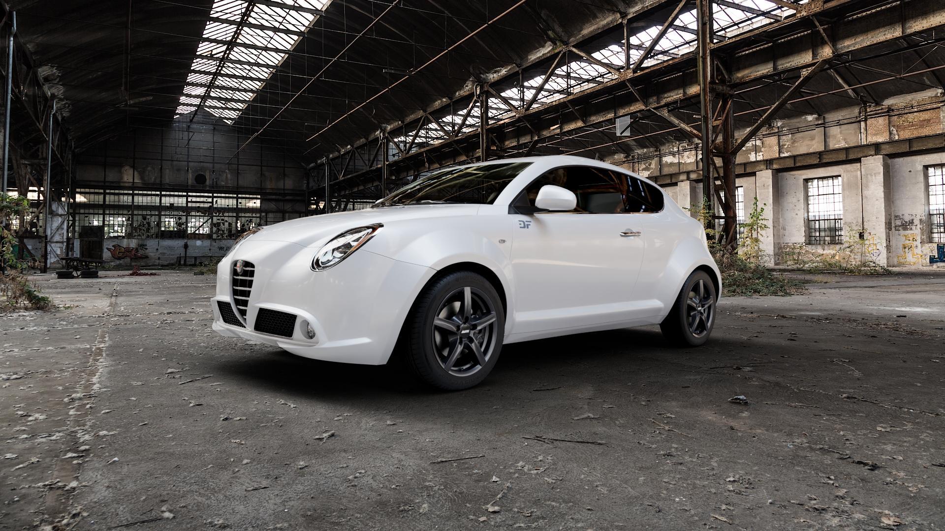 ALUTEC Grip graphit Felge mit Reifen grau in 16Zoll Winterfelge Alufelge auf weissem Alfa Romeo Mito Typ 955 ⬇️ mit 15mm Tieferlegung ⬇️ Industriehalle 1 Camera_000