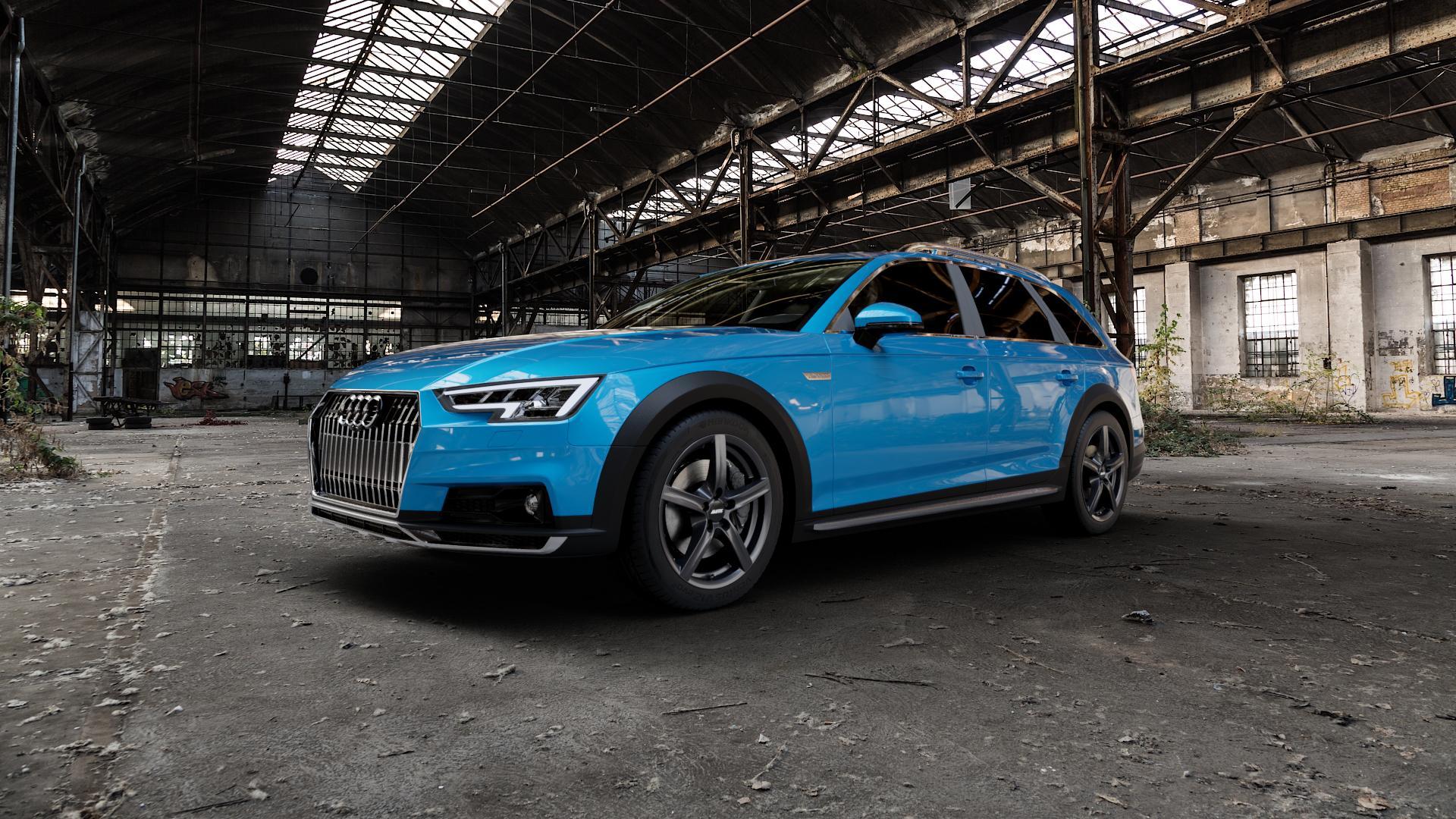 ALUTEC Grip graphit Felge mit Reifen grau in 17Zoll Winterfelge Alufelge auf hellblau Audi A4 Typ B9 Allroad ⬇️ mit 15mm Tieferlegung ⬇️ Industriehalle 1 Camera_000