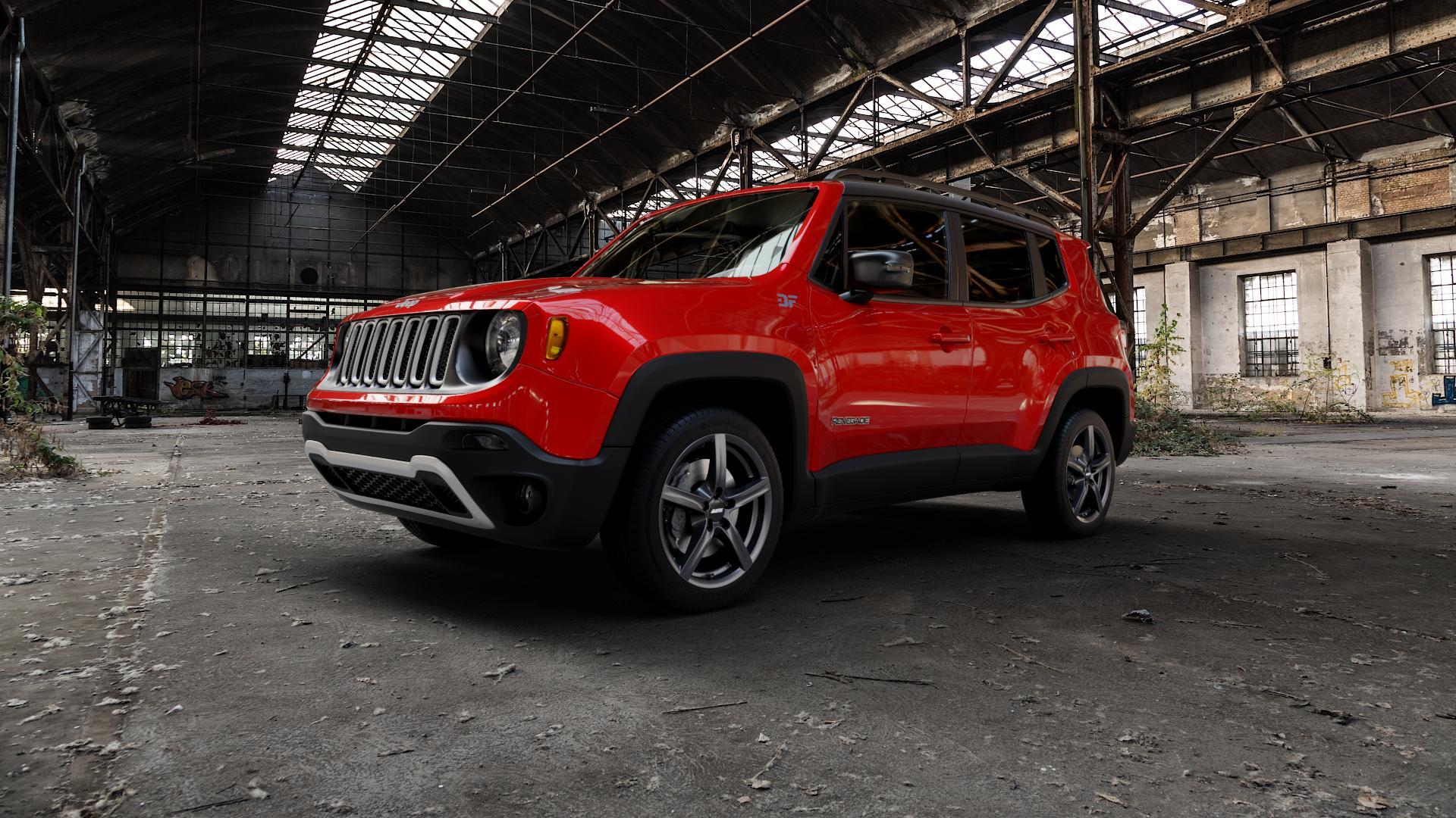 ALUTEC Grip graphit Felge mit Reifen grau in 17Zoll Winterfelge Alufelge auf rotem Jeep Renegade Typ BU ⬇️ mit 15mm Tieferlegung ⬇️ Industriehalle 1 Camera_000