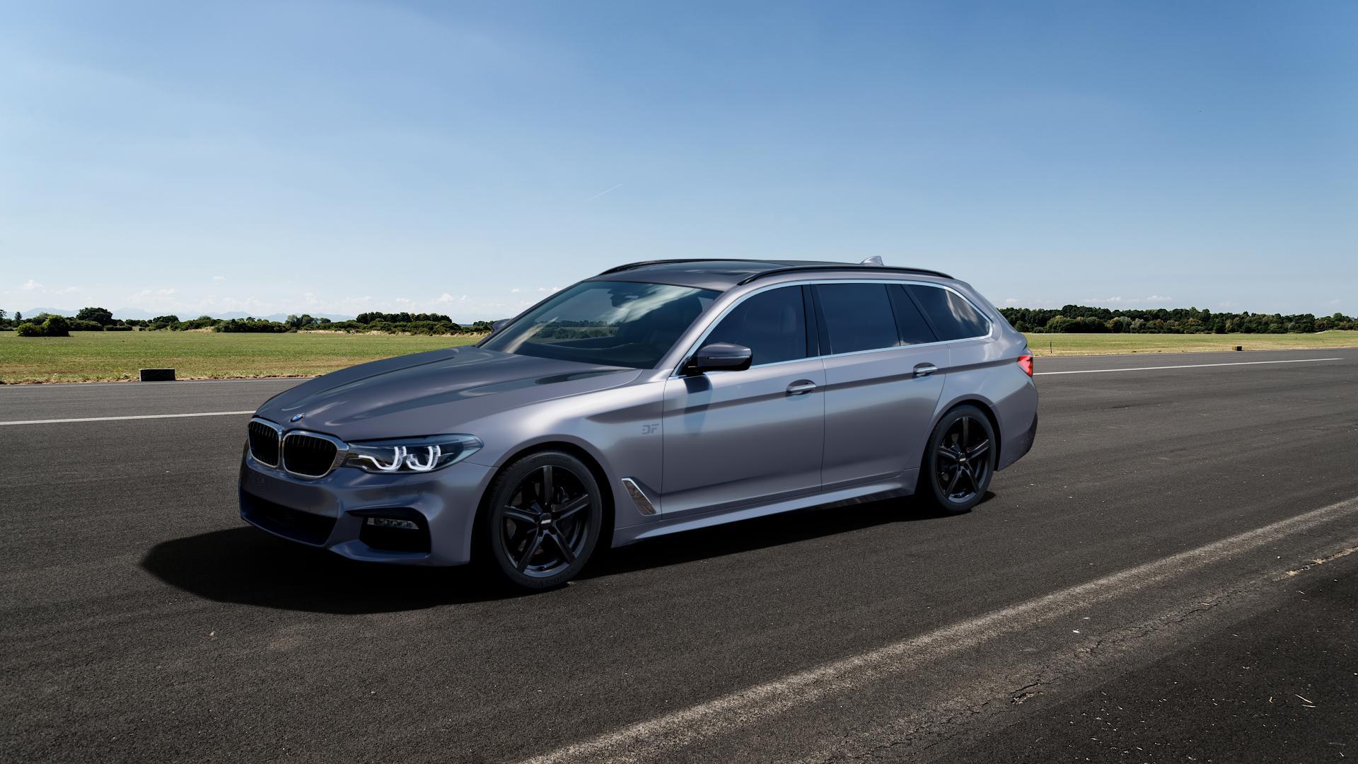ALUTEC Grip graphit Felge mit Reifen grau in 17Zoll Winterfelge Alufelge auf silbernem BMW 5er G31 Touring (G5K) ⬇️ mit 15mm Tieferlegung ⬇️ Big_Vehicle_Airstrip_1 Frontansicht_1